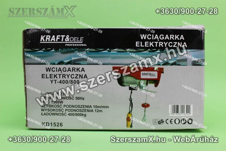 KraftDele KD1526 Elektromos Drótköteles Emelő 400/800kg