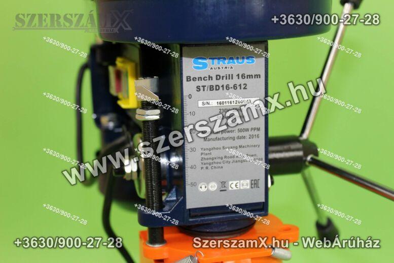 Straus ST/BD16-612 Oszlopos Fúrógép 500W 16mm + Satu
